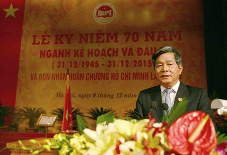 <center>Bộ trưởng Bộ Kế hoạch và Đầu tư Bùi Quang Vinh phát biểu tại buổi Lễ. Ảnh: Minh Trang (MPI Portal)</center>