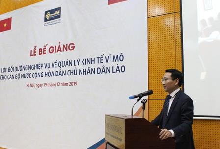<center>Phó Viện trưởng Đinh Lâm Tấn phát biểu tại buổi lễ. </center>